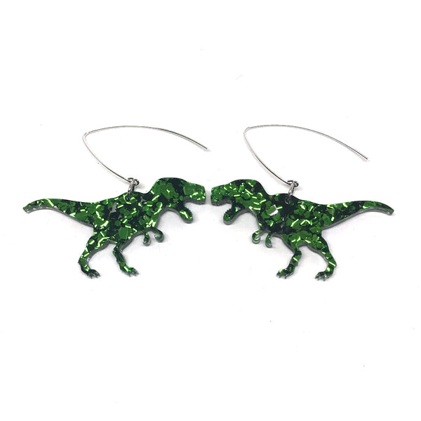 Chunky Green Glitter T-Rex Earrings