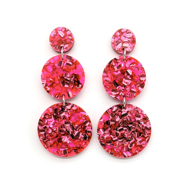 Triple Tier Mega Earrings - Chunky Glitter Candy Pink