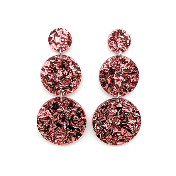 Triple Tier Mega Earrings - Rose Gold Chunky Glitter