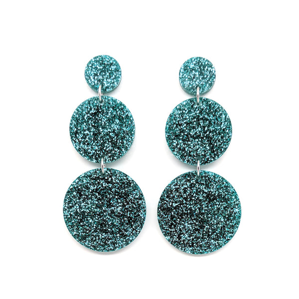 Triple Tier Mega Earrings - Teal Glitter