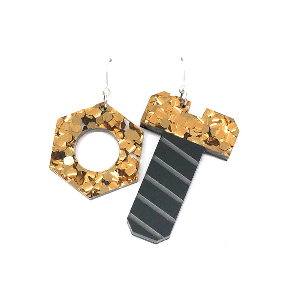 Tool Earrings - Nut and Screw Chunky Bronze Glitter