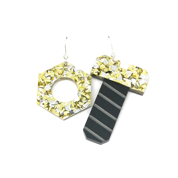 Tool Earrings - Nut and Screw Chunky Silver and Gold Glitter