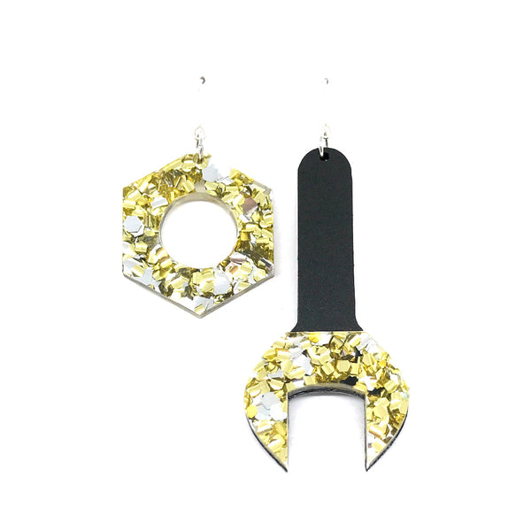 Tool Earrings - Spanner and Nut Chunky Silver and Gold Glitter