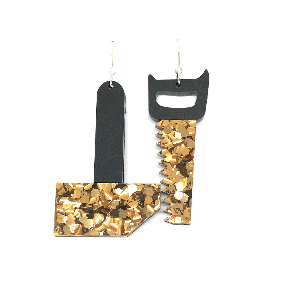 Tool Earrings - Saw and Hammer Chunky Bronze Glitter