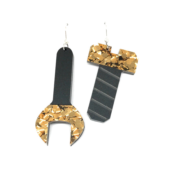 Tool Earrings - Spanner and Screw Chunky Bronze Glitter