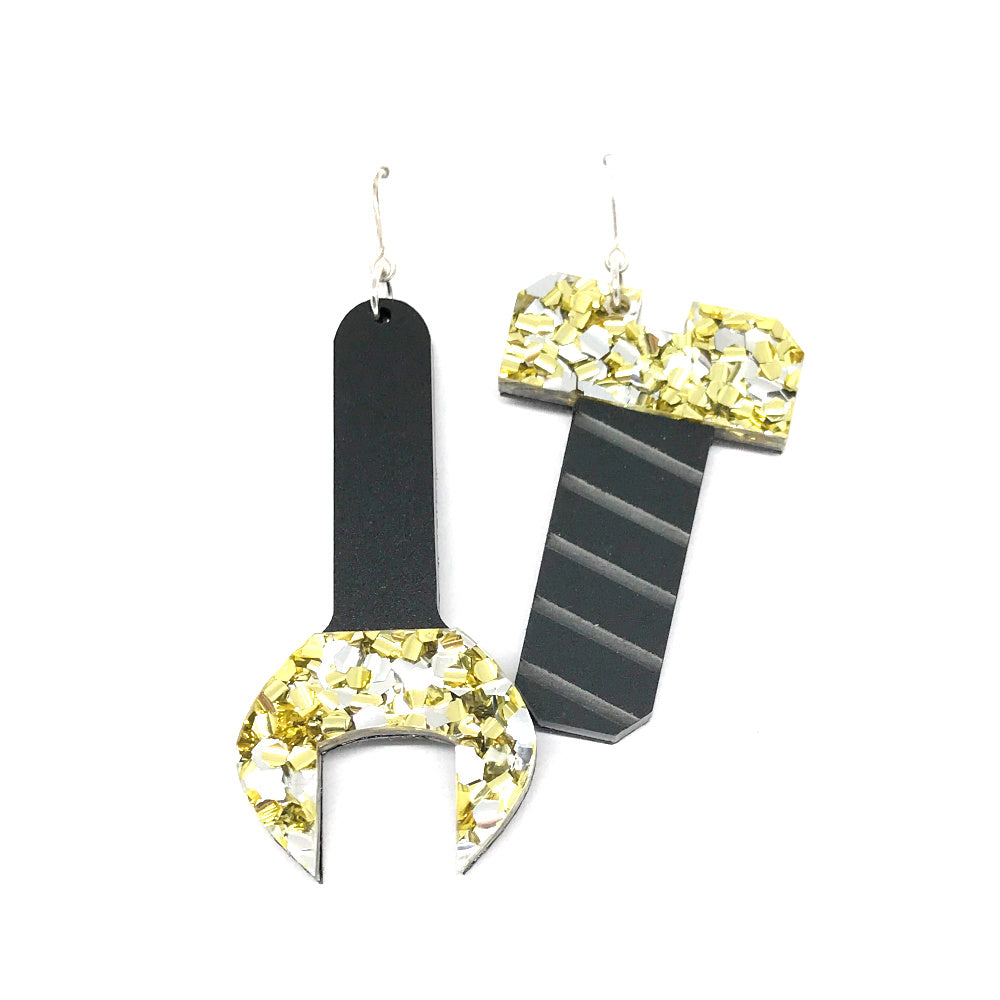 Tool Earrings - Spanner and Screw Chunky Silver and Gold Glitter