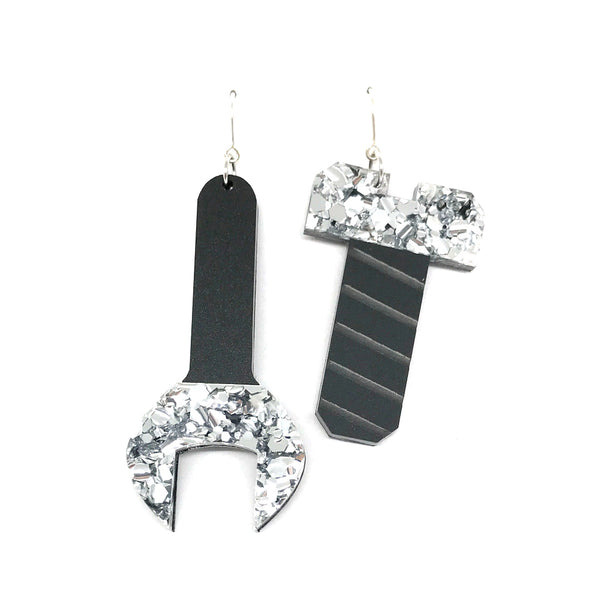 Tool Earrings - Spanner and Screw Chunky Silver Glitter