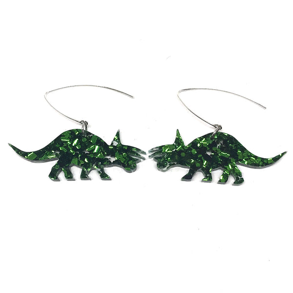Chunky Green Glitter Triceratop Earrings
