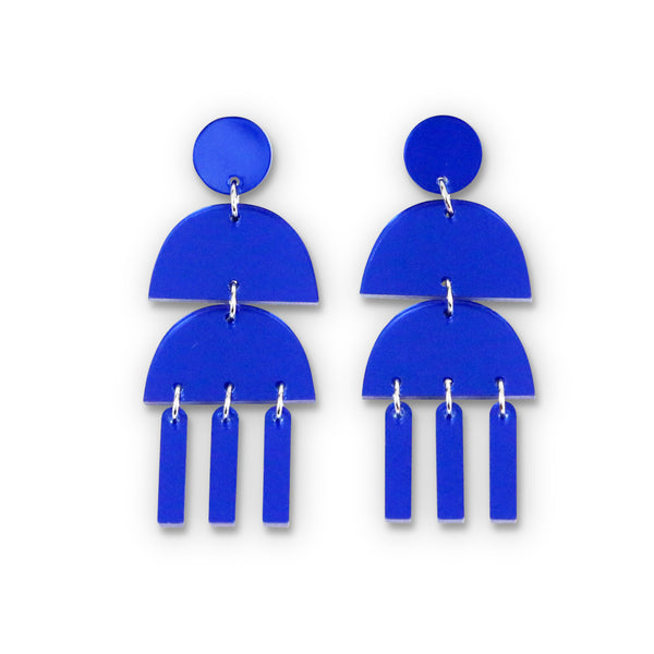 Triple Dangle Blue Mirror Earrings