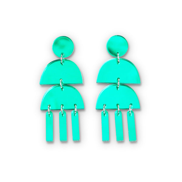 Triple Dangle Green Mirror Earrings