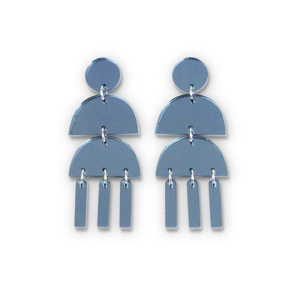 Triple Dangle Grey Mirror Earrings