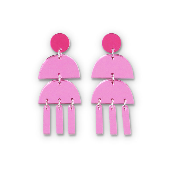 Triple Dangle Pink Mirror Earrings