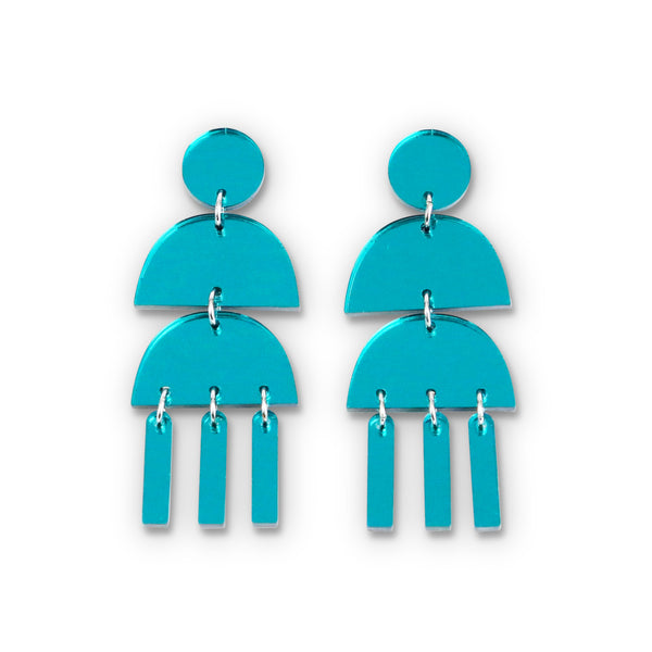 Triple Dangle Teal Mirror Earrings