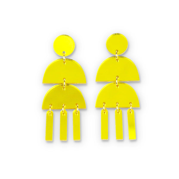Triple Dangle Yellow Mirror Earrings