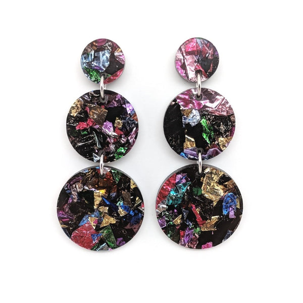 Triple Tier Dangle Earring - Crinkle