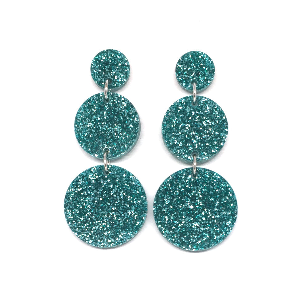 Triple Tier Dangle Earring - Teal Glitter
