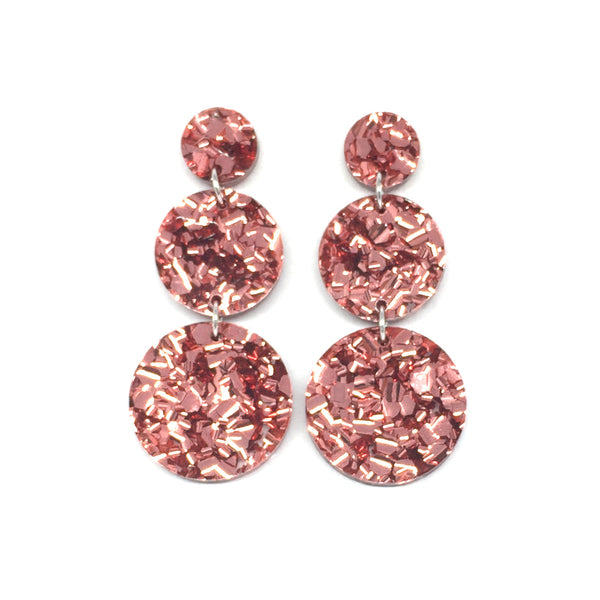 Triple Tier Dangle Earring - Rose Gold Chunky Glitter
