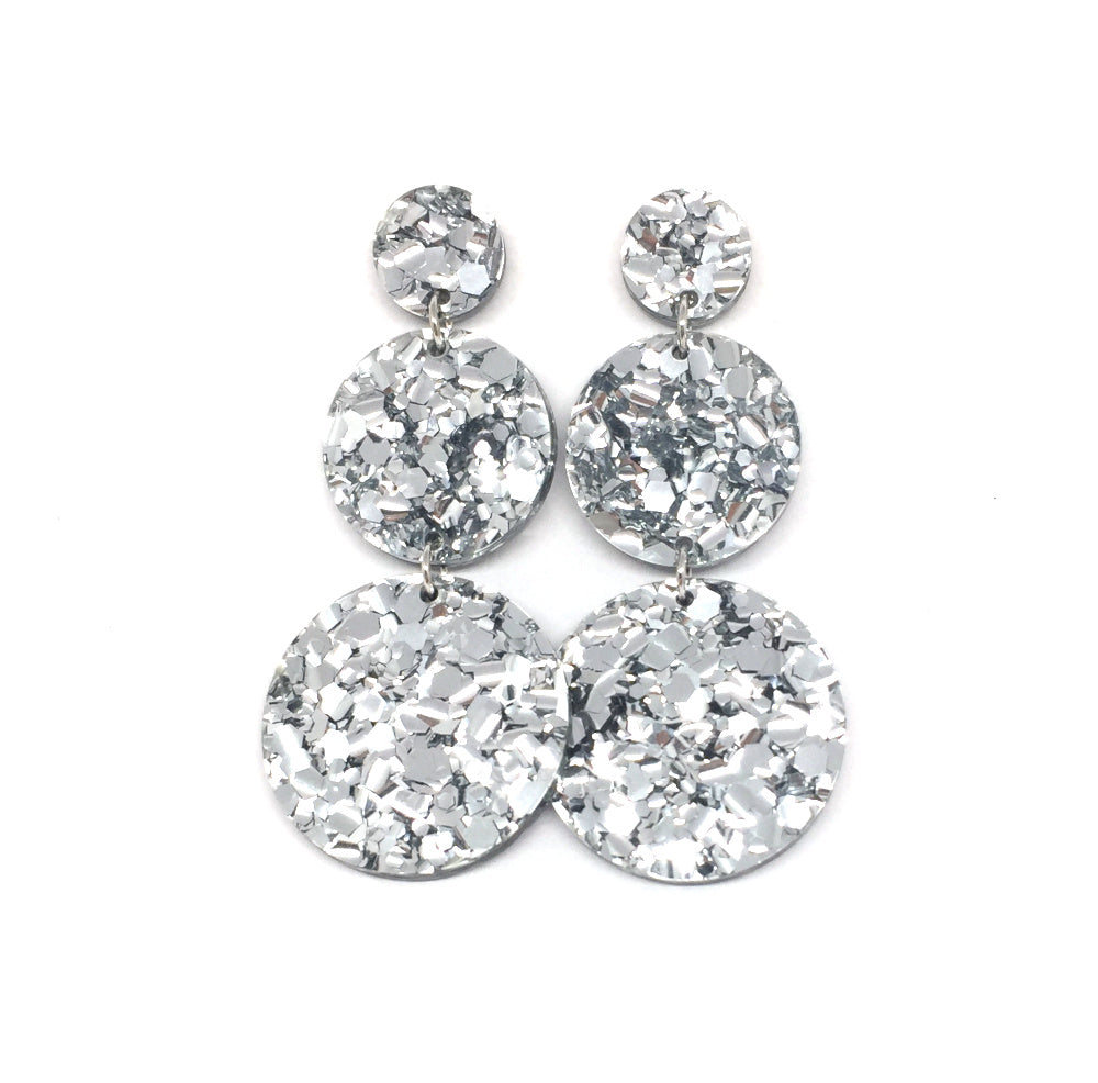 Triple Tier Mega Earrings - Silver Chunky Glitter