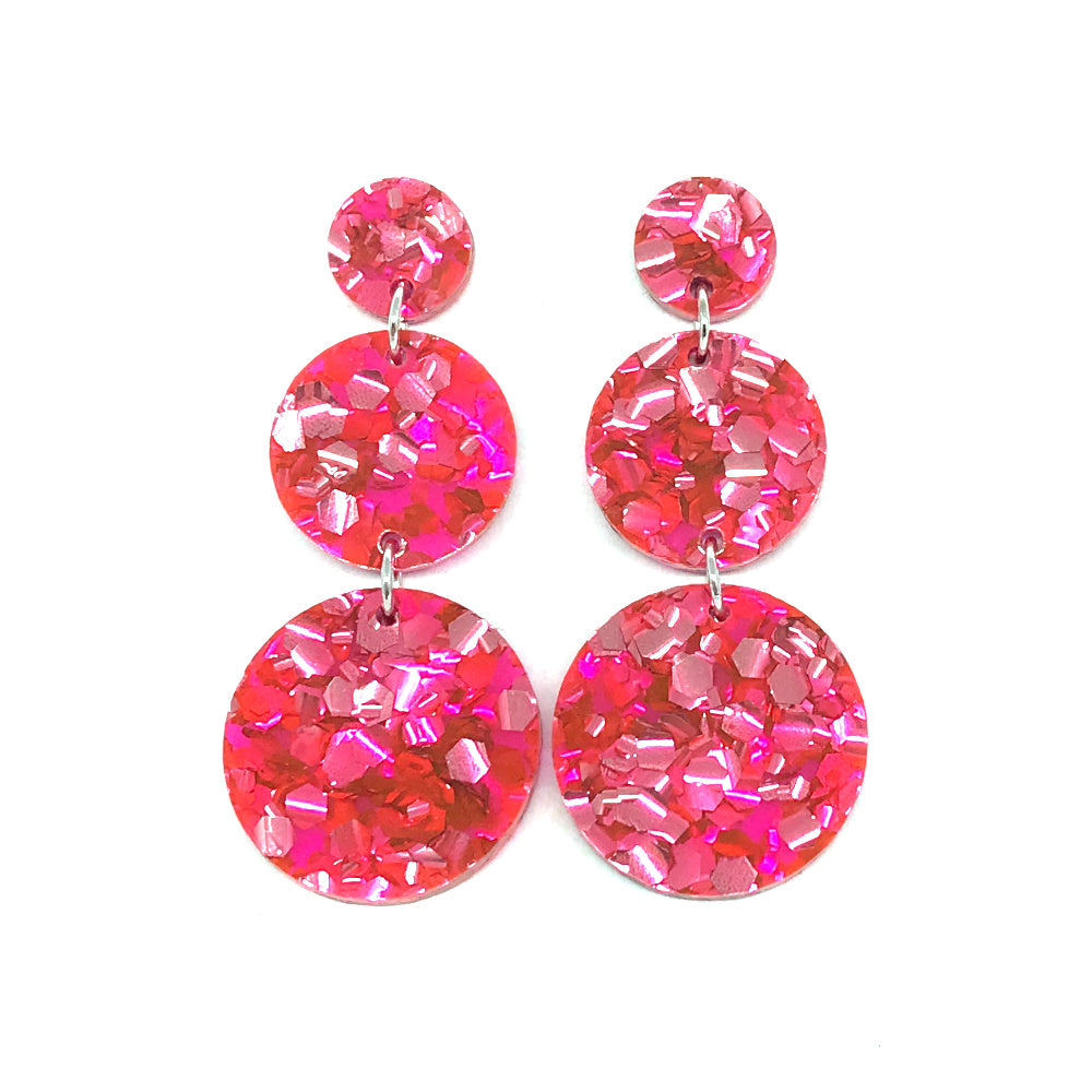 Triple Tier Dangle Earring - Candy Pink
