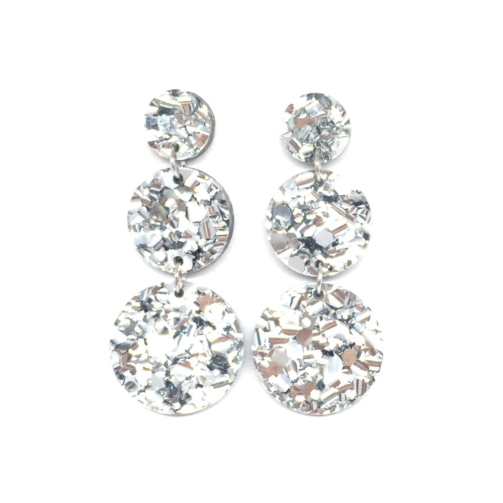 Triple Tier Dangle Earring - Chunky Silver Glitter
