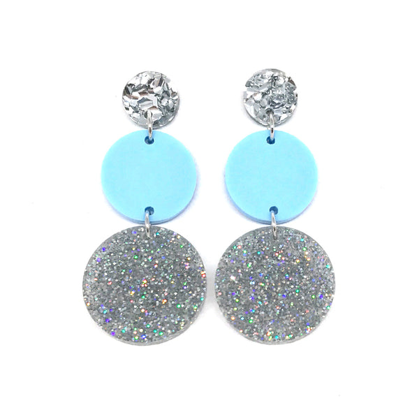 Triple Tier Dangle Earring - Chunky Silver Glitter, Pastel Baby Blue & Stardust