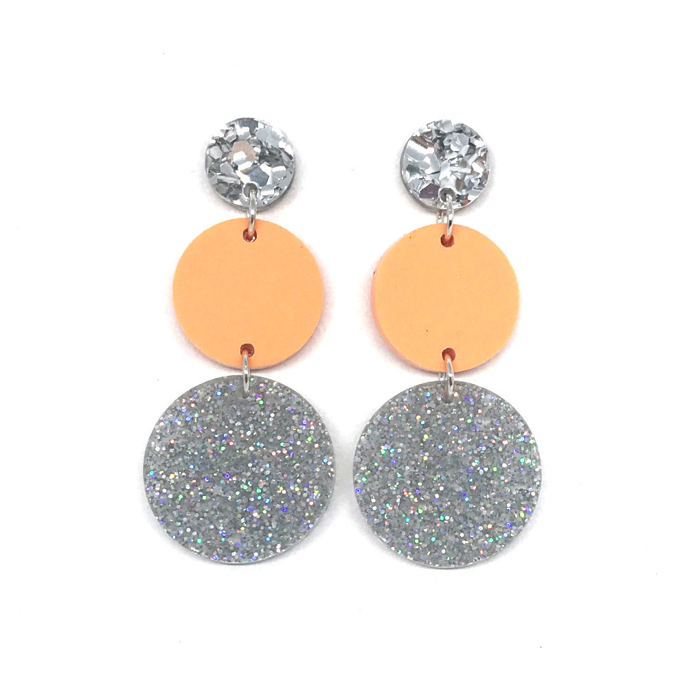 Triple Tier Dangle Earring - Chunky Silver Glitter, Pastel Orange & Stardust