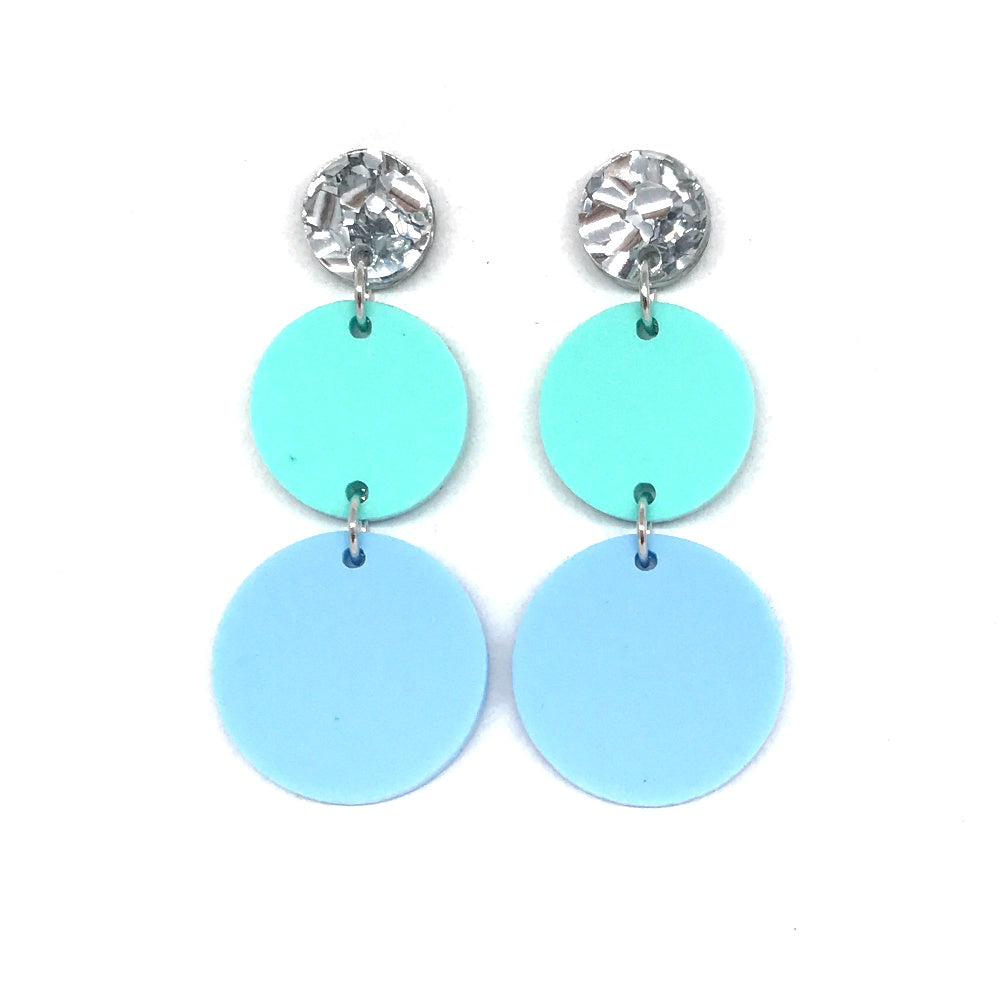 Triple Tier Dangle Earring - Chunky Silver, Pastel Mint, & Pastel Baby Blue