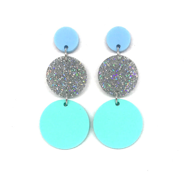 Triple Tier Dangle Earring - Pastel Baby Blue, Stardust & Pastel Mint