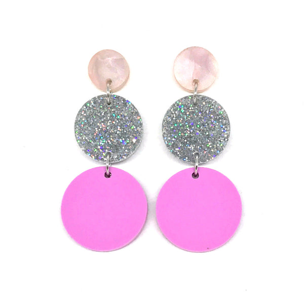 Triple Tier Dangle Earring - Pale Pink, Stardust & Pastel Plum