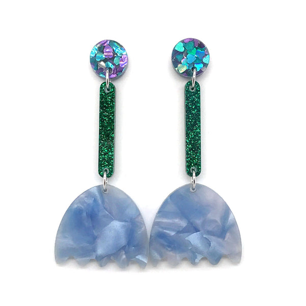 Tulip Flower Earrings - Crystal Blue