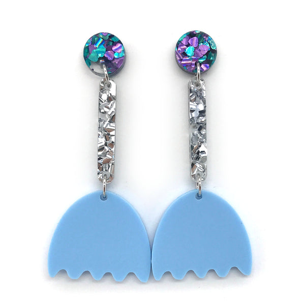 Tulip Flower Earrings - Pastel Blue