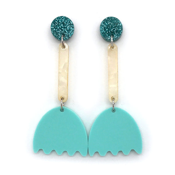 Tulip Flower Earrings - Pastel Mint