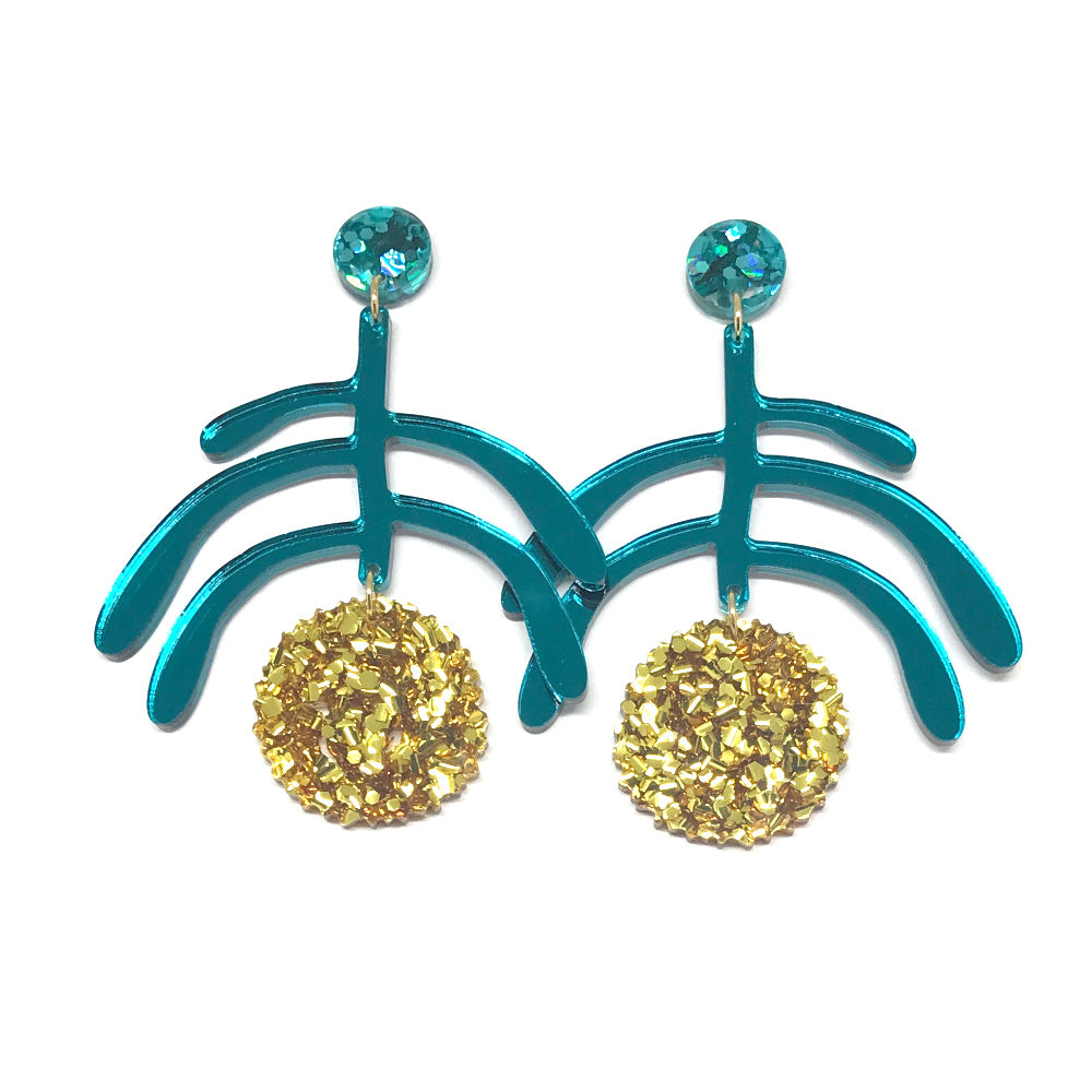 Wattle Teal Stem - Gold Flower