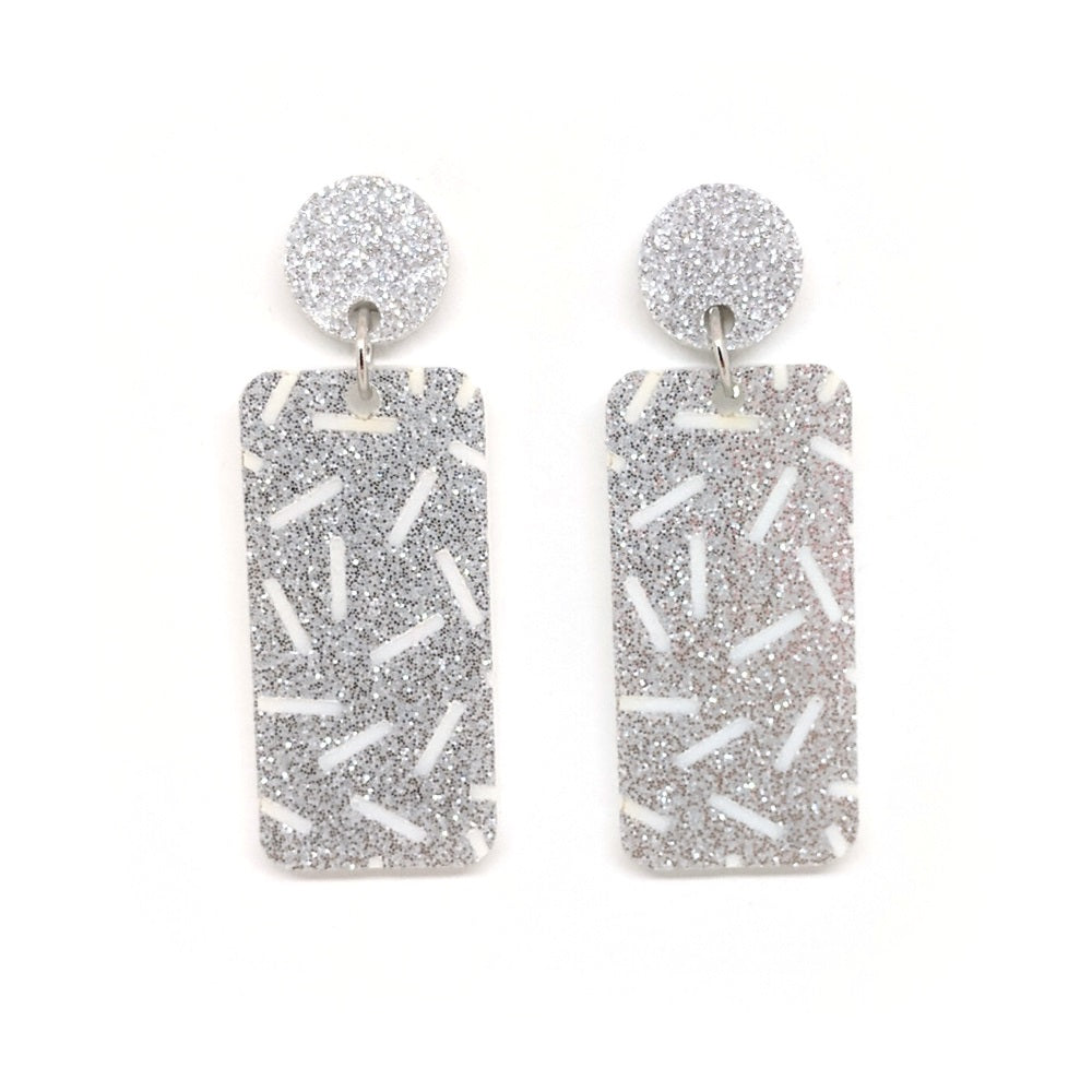 White With Silver Glitter Etched Sprinkles - Rectangle
