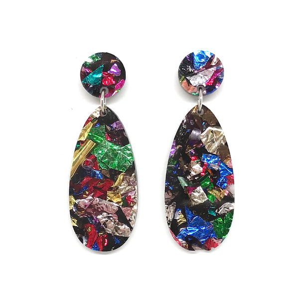 Chunky Crinkle Glitter Long Egg Earrings