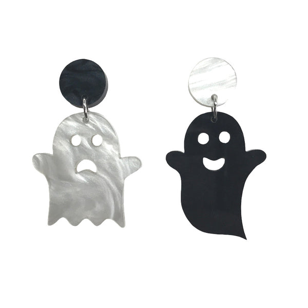 Ghost Earrings - different happy sad face