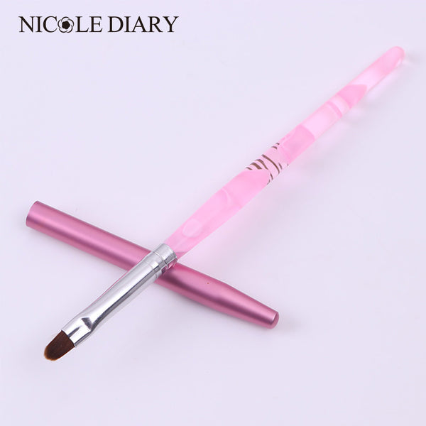 NICOLE DIARY 1Pc Nail Art UV Gel Brush Pen With Cap Pink NO.6 UV Gel Nail Art Manicure Tool