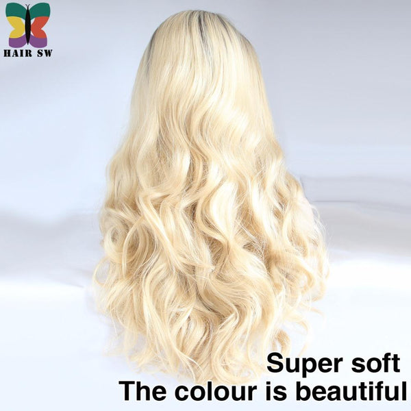 Long Wavy Lace Front Synthetic Wig Ombre Blonde  Glueless Half Hand Tied