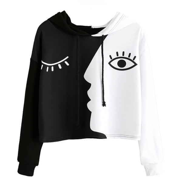 Women Ladies Sweatshirt Hooded Long Sleeve Crop Patchwork Blouse Pullover Tops