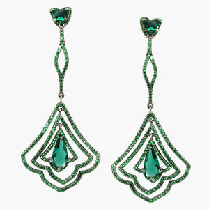 Fashion jewelry trendy black rhodium plated sterling silver 925 green zirconia Peacock Earrings