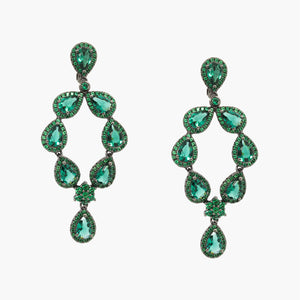 Fashion jewelry trendy black rhodium plated sterling silver 925 Emerald Green Petit Chandelier Earrings