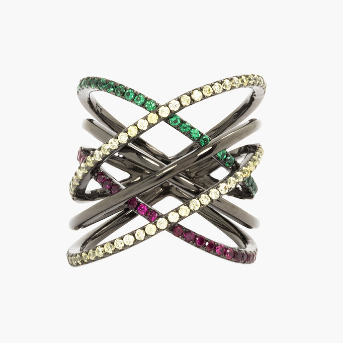 Fashion Jewelry Trendy Rhodium Plated Sterling Silver Interlaced Criss Cross Multicolor Rainbow Ring Front