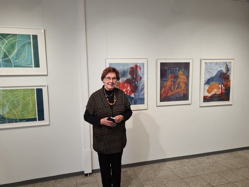 Explore Pirkko-Liisa Inkinen Art Exhibition - Woodcuts Along the Way - in 3D