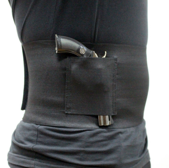 Concealed Carry Belly Band Gun Holster with 2 Magazine Pouches-Fits Up To 48