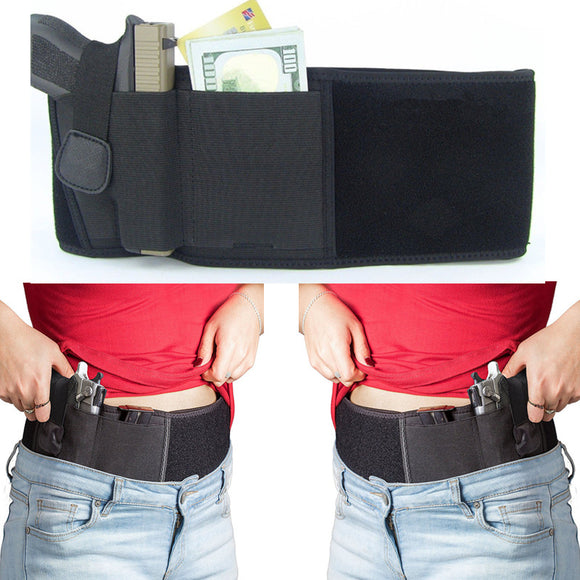 Belly Band Holster With Large Mag Pouch Left & Right Hand Draw