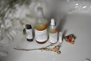 Rose Coffret, Natural Luxury Skin Care, Gather perfume, cleanser, serum, lip balm, fragrance