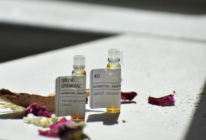 DISCOVERY SET by Gather | natural botanical perfume sampler | No. 21 + Spring Ephemeral. LIMITED MICROBATCH