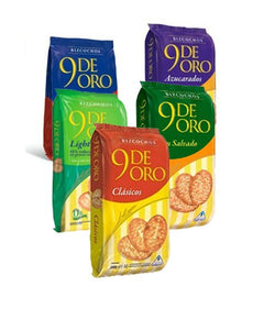 9 De Oro Bizcochos Light Reduced Fat Biscuits / 170g