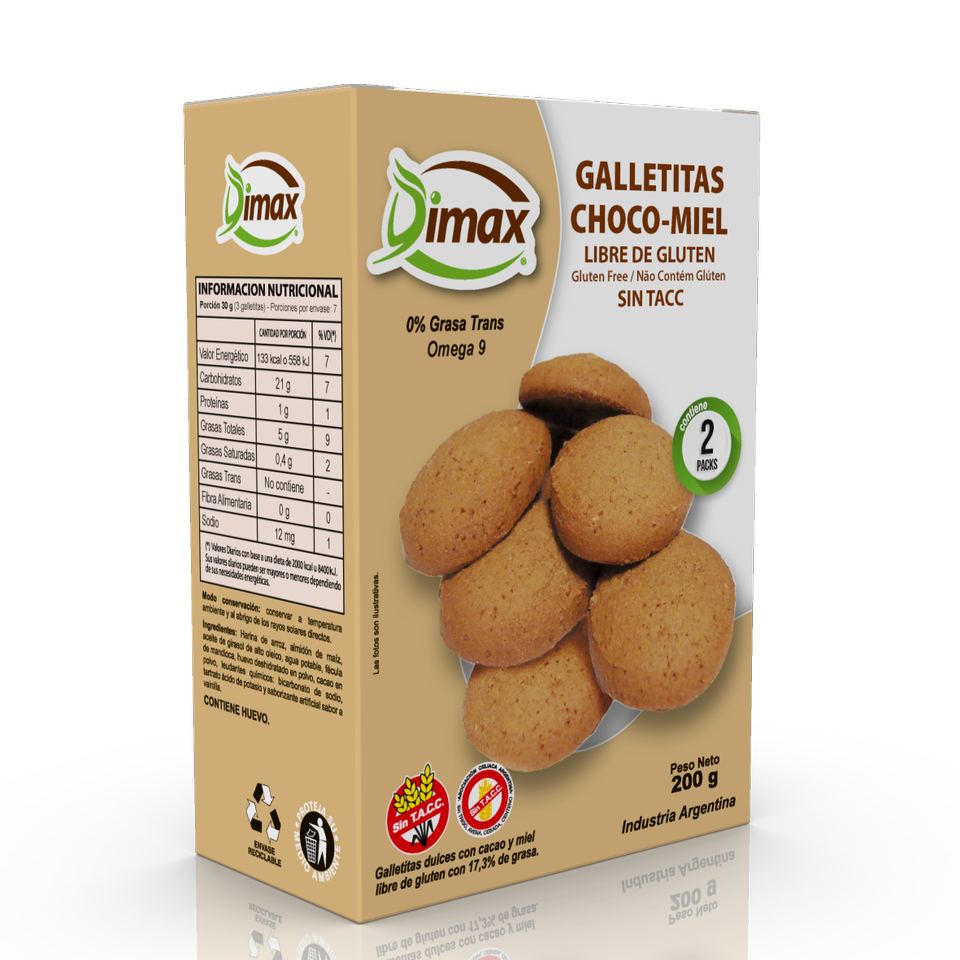 Dimax Galletitas Sabor Choco-Miel Sweet Cookies Chocolate and Honey GLUTEN FREE / 200G