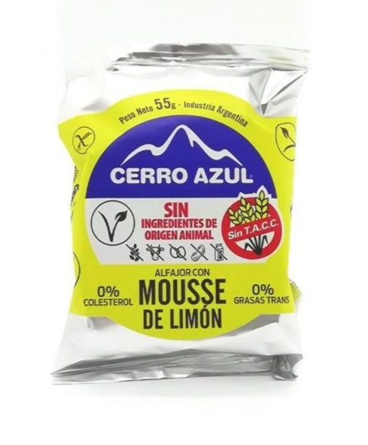 Cerrro Azul Alfajor Mousse de limon Alfajor Lemon Mousse VEGAN / (Pack of 3)